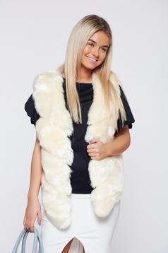 Vesta de blana alb casual cu croi asimetric