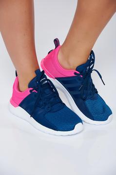 Pantofi sport Adidas albastri casual cu dungi verticale cu siret