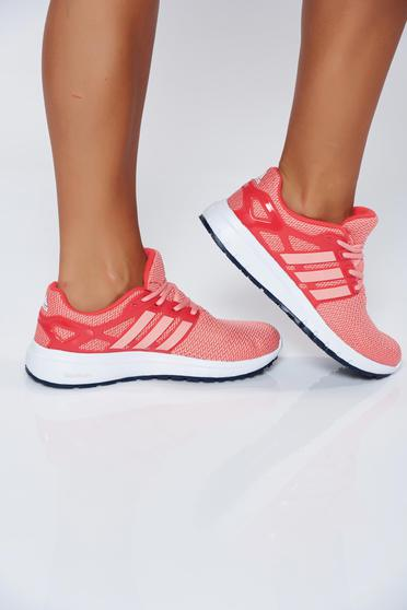 Pantofi sport Adidas portocalii casual cu talpa joasa cu dungi verticale
