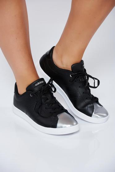 Pantofi sport Adidas Originals negri casual din piele naturala cu varf metalic