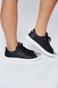 Pantofi sport Adidas Originals negru casual din piele naturala cu varf metalic