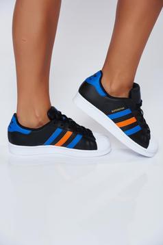 Pantofi sport Adidas Originals negri casual din piele naturala cu siret