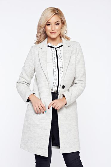Palton Top Secret gri casual drept cu croi larg