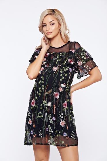 Rochie Top Secret neagra de zi din tul cu imprimeu floral