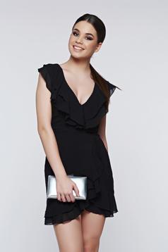 Rochie neagra eleganta din voal cu decolteu