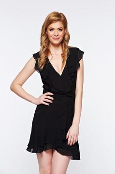 Rochie neagra eleganta petrecuta din voal cu decolteu
