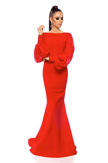 Rochie Ana Radu rosie de lux tip sirena cu spatele gol din stofa usor elastica cu maneci din voal