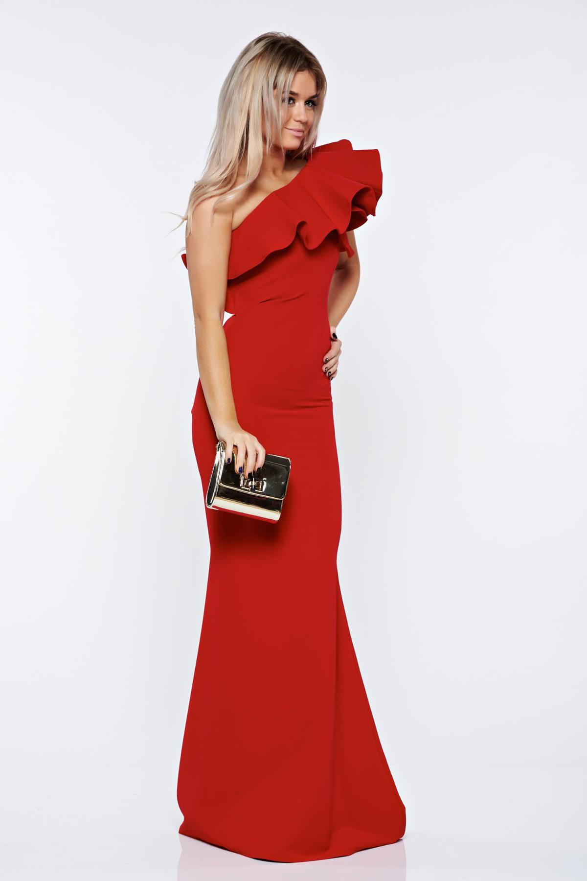 Rochie Ana Radu rosie de lux tip sirena pe umar din stofa usor elastica