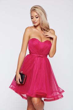Rochie Ana Radu roz de ocazie tip corset cu bust buretat