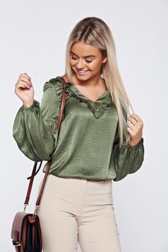 Bluza dama LaDonna verde-inchis eleganta din material satinat cu decolteu in v