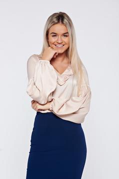 Bluza dama LaDonna crem eleganta din material satinat cu decolteu in v