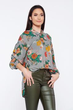 Camasa dama Top Secret alba casual asimetrica cu imprimeu floral si carouri