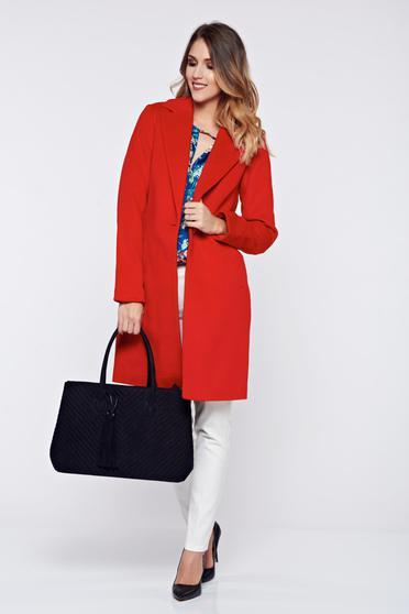 Palton Top Secret Rosu Basic Captusit Pe Interior