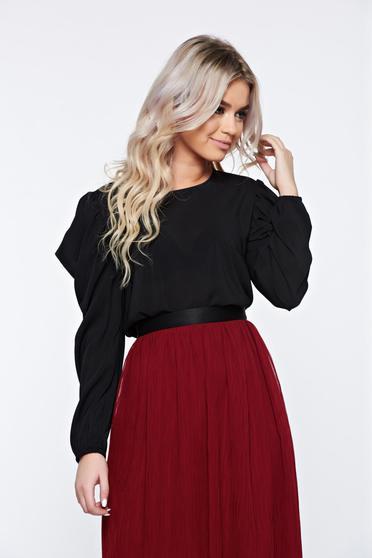 Bluza dama StarShinerS neagra eleganta cu maneci tip fluture