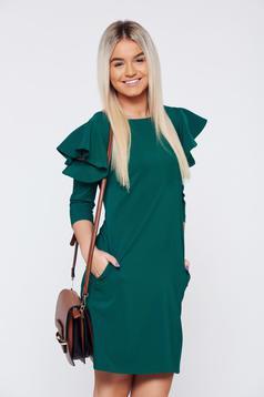 Rochie LaDonna verde cu croi larg cu volanase la maneca