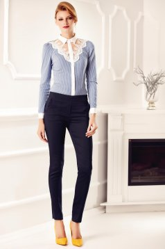 Camasa dama Fofy albastra office eleganta cu aplicatii de dantela