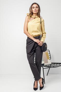 Pantaloni PrettyGirl gri inchis office cu buzunare in fata