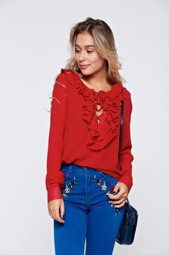 Bluza dama PrettyGirl rosie eleganta cu croi larg cu volanase