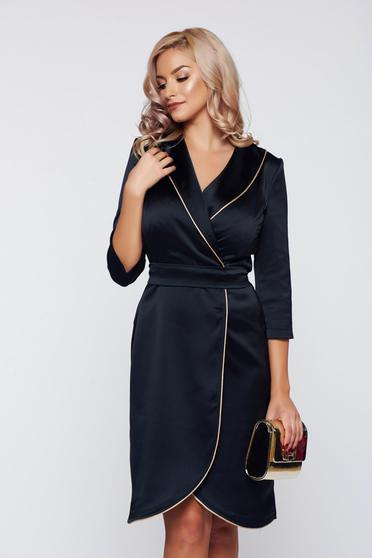 Rochie StarShinerS neagra eleganta petrecuta din material satinat