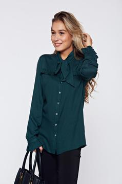 Camasa dama PrettyGirl verde-inchis eleganta cu volanase la maneca