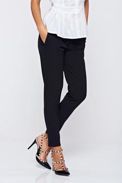 Pantaloni PrettyGirl negri office din stofa usor elastica