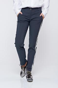 Pantaloni PrettyGirl gri casual conici cu dungi verticale