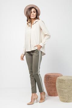 Pantaloni PrettyGirl verzi casual conici cu dungi verticale