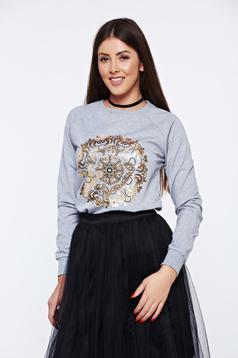 Bluza dama Top Secret gri-deschis casual cu croi larg