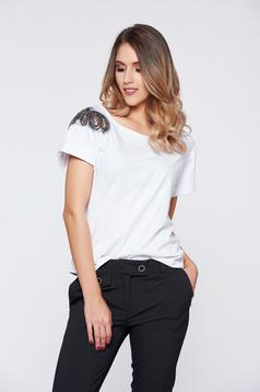 Tricou StarShinerS alb casual din bumbac cu aplicatii cu margele