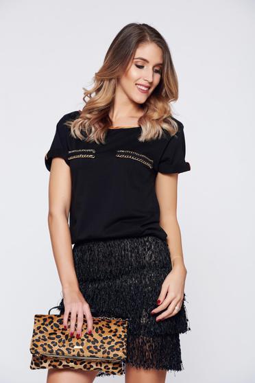 Tricou StarShinerS negru casual din bumbac cu croi larg