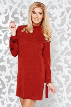 Rochie StarShinerS caramizie de zi tricotata cu croi larg captusita pe interior