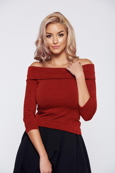 Pulover StarShinerS FALL in love caramiziu elegant tricotat pe umeri