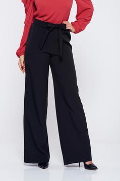 Pantaloni StarShinerS negri office eleganti accesorizati cu cordon