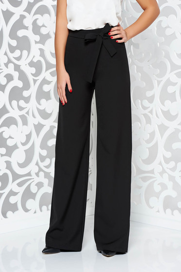 Pantaloni StarShinerS negri eleganti evazati cu talie inalta din stofa usor elastica accesorizati cu cordon