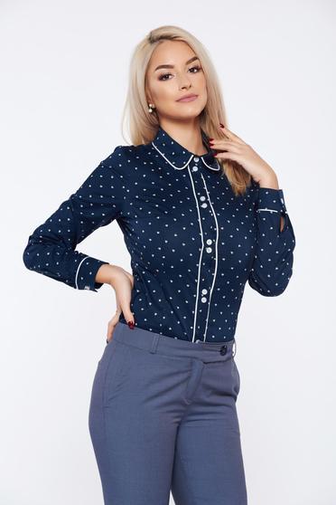 Camasa dama LaDonna albastra office din bumbac cu buline
