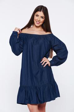 Rochie albastra-inchis casual cu volanase la baza rochiei