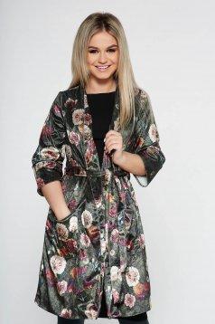 Cardigan PrettyGirl khaki casual din catifea cu imprimeuri florale
