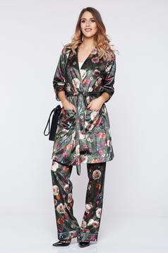 Pantaloni PrettyGirl verzi casual cu talie medie cu imprimeu floral