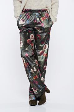 Pantaloni PrettyGirl khaki casual cu talie medie cu imprimeu floral