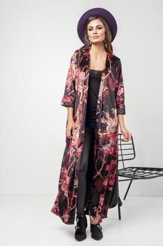 Jacheta PrettyGirl neagra casual catifea cu imprimeu floral