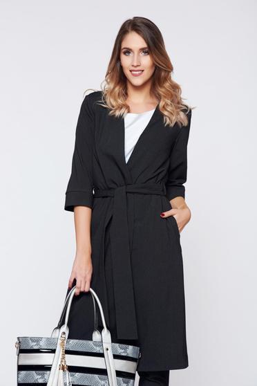 Sacou PrettyGirl negru office elegant accesorizat cu cordon