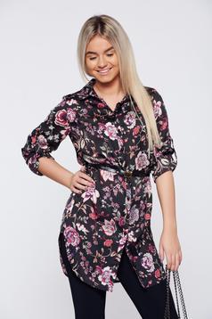 Camasa dama neagra casual cu croi larg cu imprimeu floral