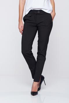 Pantaloni PrettyGirl negri cu talie medie buzunare in fata office