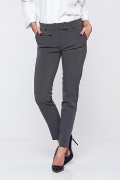 Pantaloni PrettyGirl gri cu talie medie buzunare in fata office