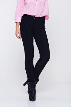 Pantaloni PrettyGirl negri casual conici cu talie medie