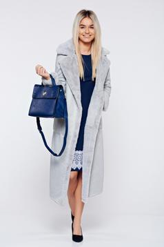 Palton gri elegant drept cu buzunare