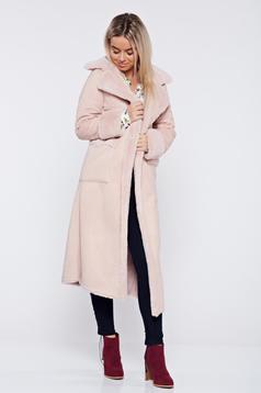Palton rosa elegant drept cu buzunare