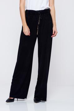 Pantaloni negri casual cu croi larg cu elastic in talie