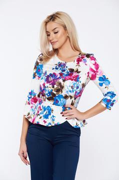 Bluza dama StarShinerS albastra eleganta cu peplum cu imprimeuri florale