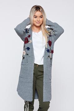 Cardigan gri casual brodata tricotat cu buzunare